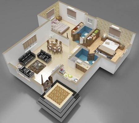 تصاویر نقشه ساختمان سه بعدی, نقشه ساختمان 1 خوابه