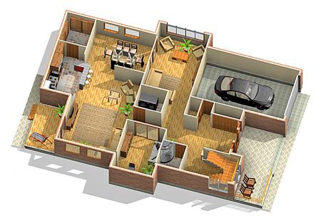 انواع نقشه ساختمان, نقشه ساختمان 3 خوابه