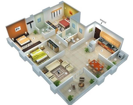 نقشه ساختمان 1 خوابه, عکس های نقشه ساختمان سه بعدی